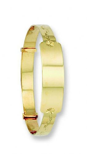 Identity Baby Bangle Yellow Gold Expandable Hallmarked Christening Gift